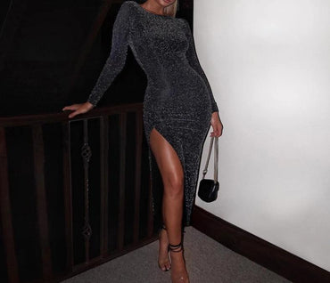 Glitter sparkle bling long sleeve slit elegant party outfit bodycon midi dress
