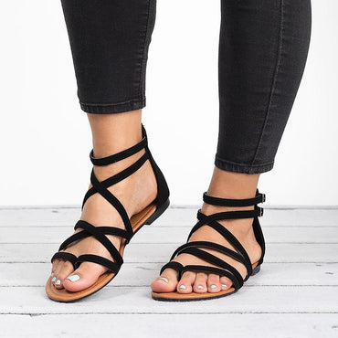 Summer PU Narrow Band Buckle Cover Heel Flat Gladiator Sandals