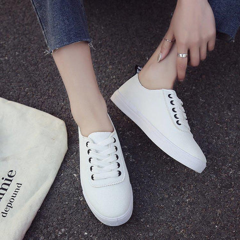 White Casual Flat Female Lace-up Simple Classic pu Shoes