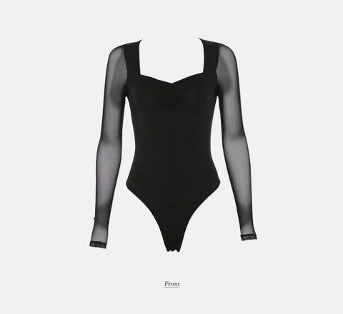 Sexy Bodysuit Black Solid Mesh Long Sleeve Party Club Bodysuit