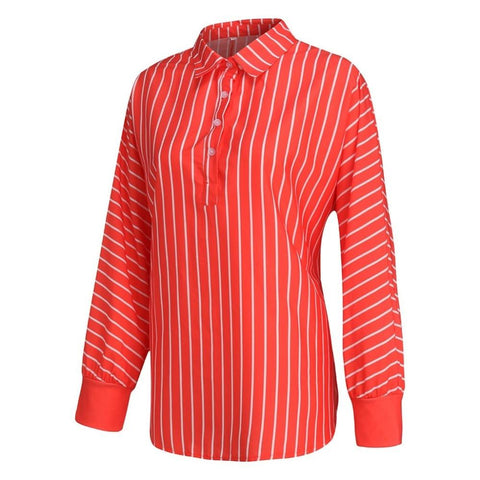Casual Striped Button Lapel Long Sleeve Shirt Top