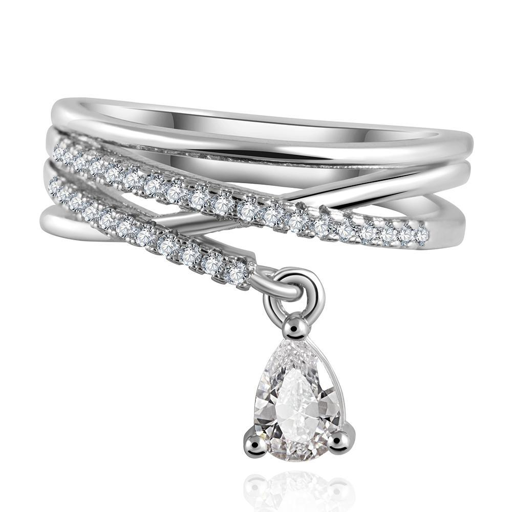 Multilayer Cross Crystal Water Drop Ring