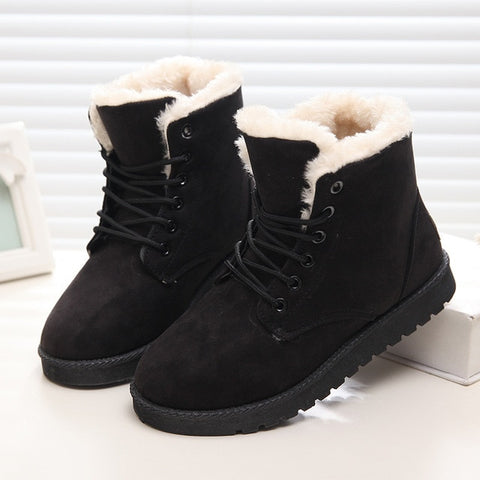 Snow Boots Flat Lace Up Winter Suede Ankle Boots