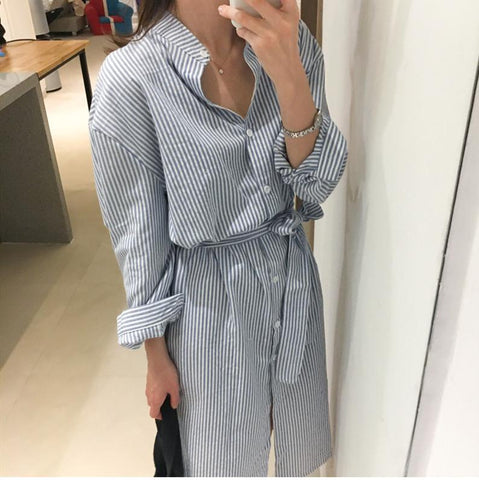Spring Autumn Elegant Casual Striped Shirt Dress