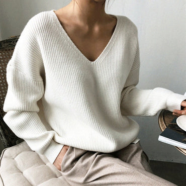 V-Neck Minimalist Tops Fashionable Style Knitting Casual Solid Sweater