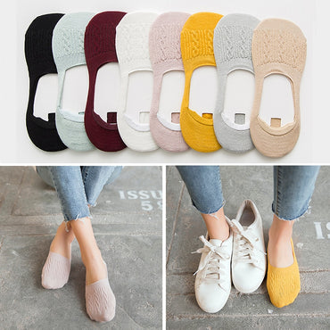 Casual Breathable Ankle Candy Color Boat Socks