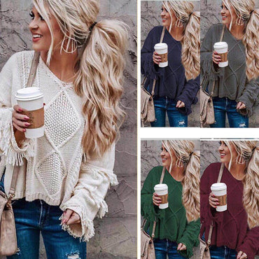 Women's Loose Knitting O-neck Flare Sleeve Tassel Patchwork Sweater