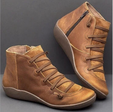 Autumn Winter Retro Punk Genuine Leather Ankle Boot