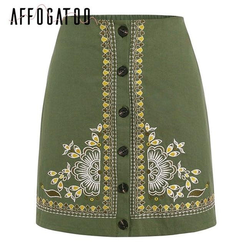 Sexy Ethnic floral embroidery Vintage a-line High waist skirts