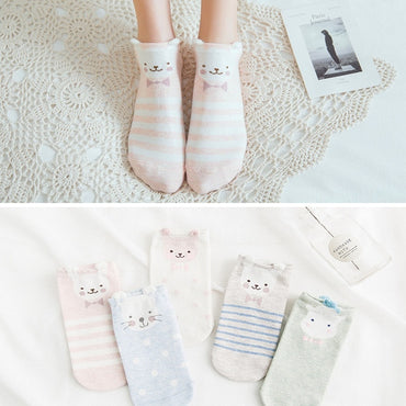 Cotton Pink Cute Cat Ear Red Heart Socks