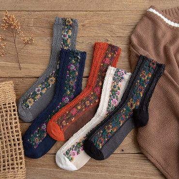 Cotton National Wind Flowers Autumn and Winter Ladies Socks