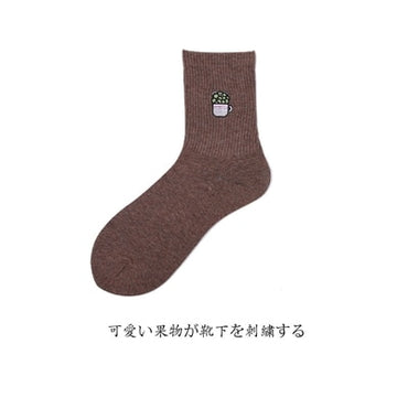 Fashion Creative Dinosaur Embroidery Cotton Women Socks