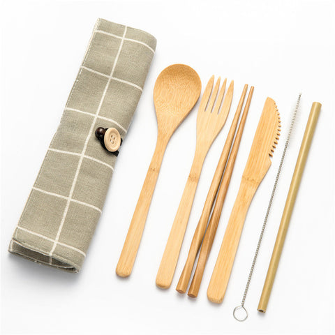 Tableware Set Bamboo Cutlery Set Wood Straw with Travel Cloth Bag