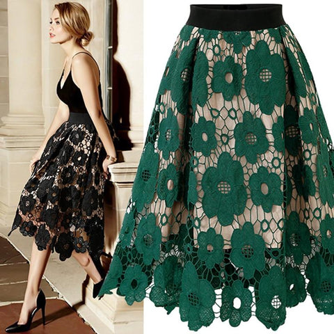 Lace Knee Length Soft Stretch Flared Skater Fashion High Waist Skirts