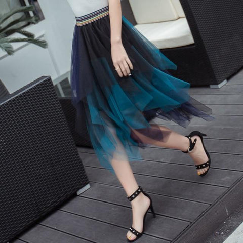 Fashion Elastic High Waist Mesh Tutu Maxi Pleated Long Midi Skirt