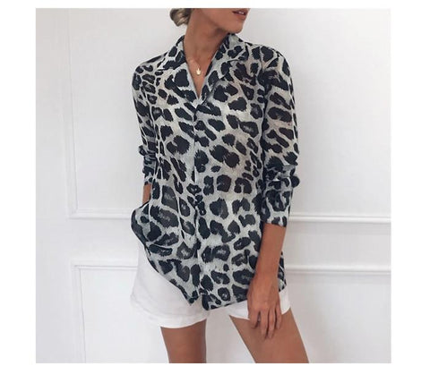Sexy Leopard Print Blouse Turn Down Collar Lady Office Shirt