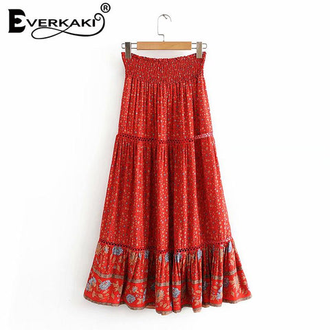 Boho Print Elastic Sashes Bottoms Vintage Skirt