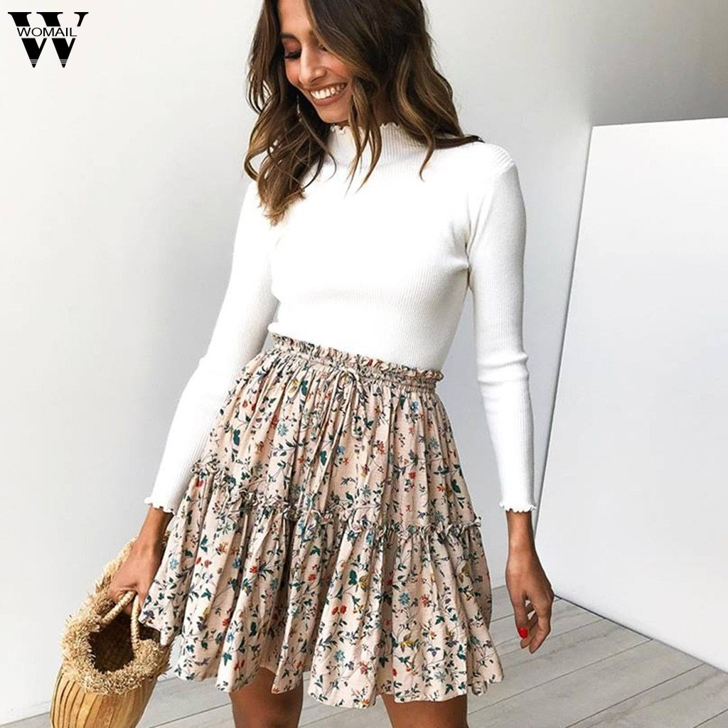 Fashion High Waist Print Summer High Waist A Line Mini Skirts