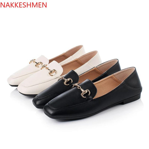 simple thick heels thin shallow buckle casual shoes