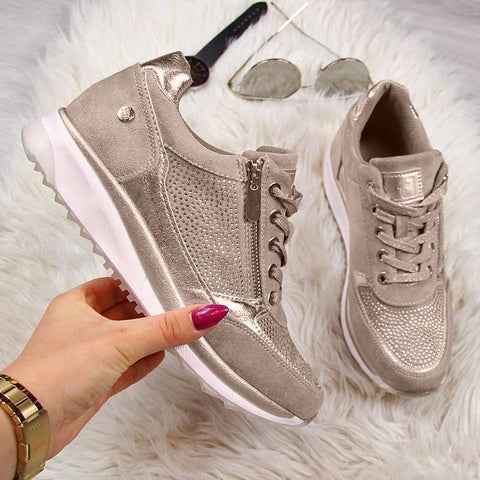 Gold Sneakers Zipper Platform Trainers Women Shoes Casual Lace-Up