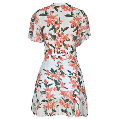 Sexy V Neck Mini Dress Floral Short Sleeve Sashes