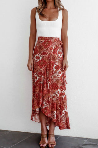 Floral High Waist Ruffled Long Split Boho Wrap Skirts