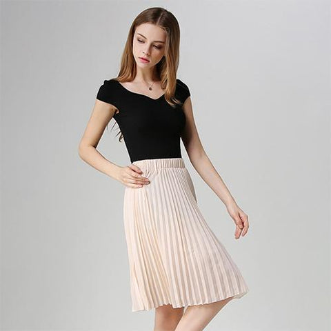 Chiffon Pleated  Midi Knee Length Solid A-line Skirt