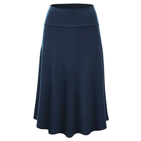 Summer Plus Size Solid Flare Hem High Waist Midi Skirt