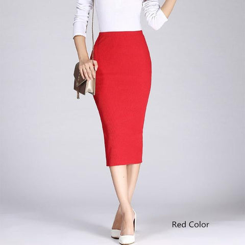 High Elastic Package Hip Mid-Calf Solid Pencil Skirt