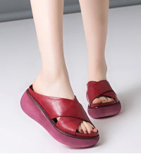Sandals Soft Leather Wedges Shoes Platform