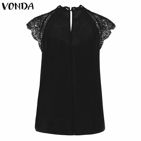 Sexy Hollow Out Women Blouse Sleeveless Lace Shirt