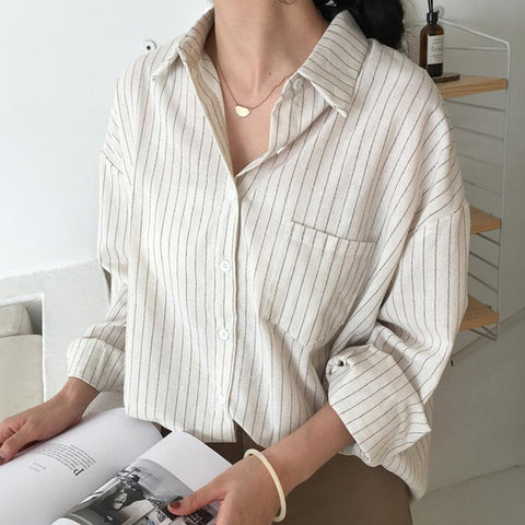 Casual Striped Shirts  One Pocket Female Blouses