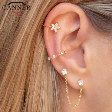 1 pair of 925 Sterling Silver Snowflake Ear Cuff Without Piercing Clip Earrings