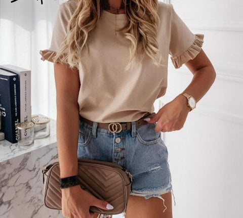 casual ruffles short sleeve solid loose t shirt top