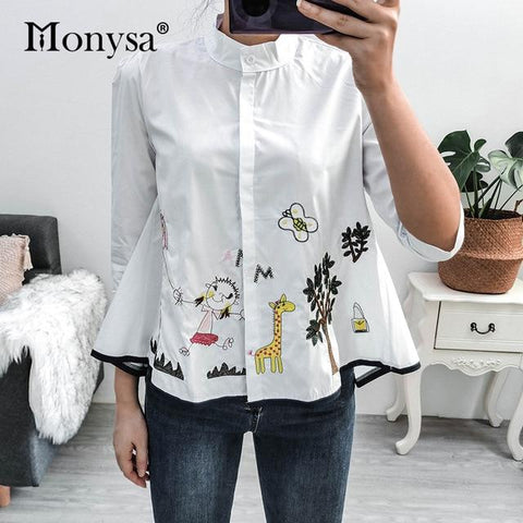 2Embroidery Shirt Casual Blouses Ladies White Doll Shirt