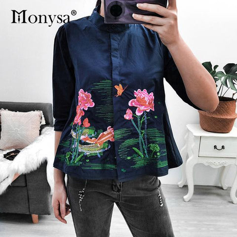 1Embroidery Shirt Casual Blouses Ladies White Doll Shirt