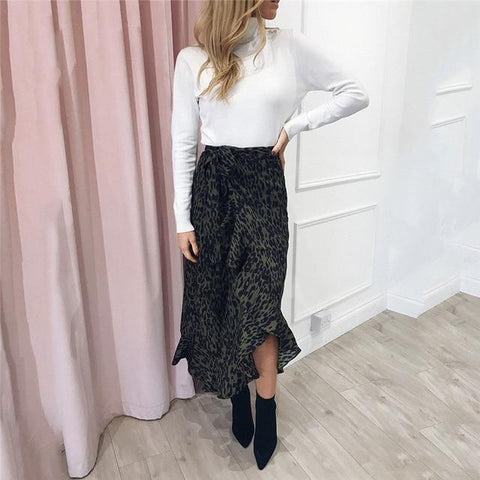 Lace Up High Waist Ruffles Loose Slim Long Wrap Skirt