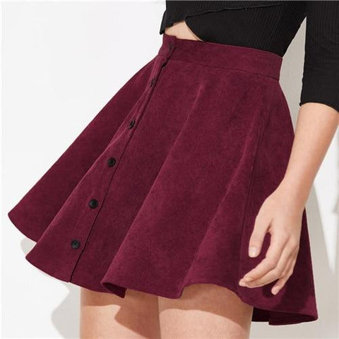 Solid Button Front Corduroy Casual Skirt