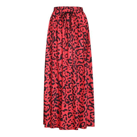 Bohemian Leopard Print Long Drawstring Pleated High Waisted Maxi Skirt