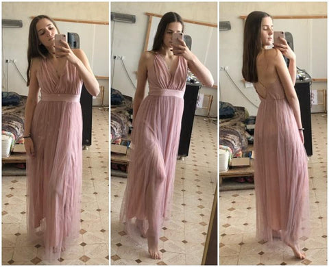 Sexy v neck backless summer pink Elegant lace evening maxi dress