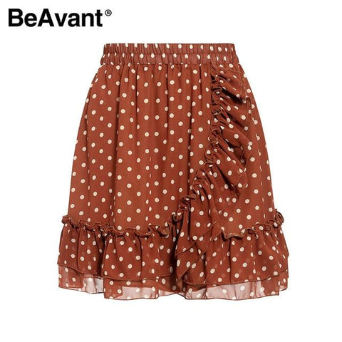 polka dot print mini skirts