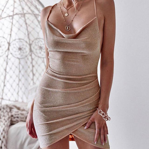 Sequined Bodycon Sparkly Backless Bandage Sleeveless Mini Dress