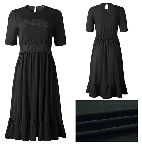 Midi Dress T-shirt Black Lace Patchwork Ruffle Ruched Long
