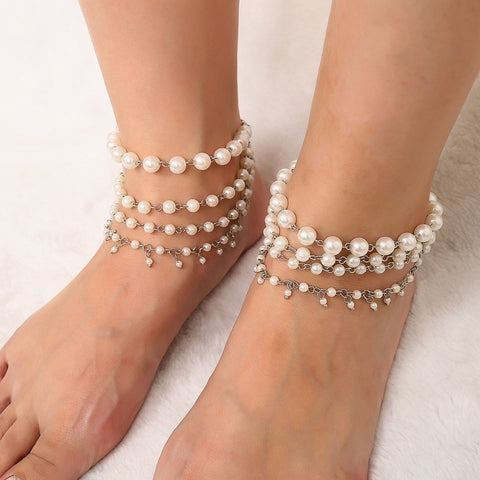 Tassels Multi-layer Simulated Pearl Ankle Leg Bracelet Boho
