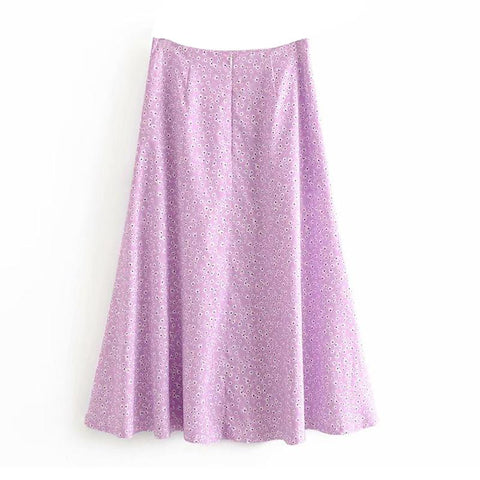 Sweet Long Split Skirt Floral Print Vintage