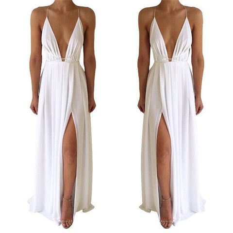 Summer Maxi Dress Solid Color Sexy Deep V-Neck Sleeveless
