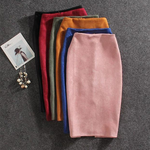 Suede Split Thick Stretchy Skirt Female Pencil Skirts