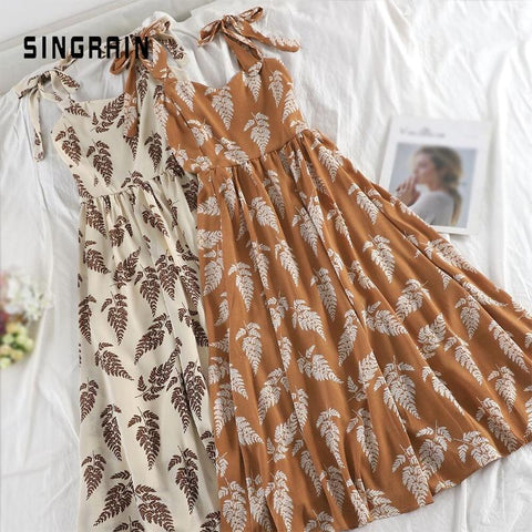 Summer Bohemian Strap Long Dress Korean Print Chiffon Ruched Sundress