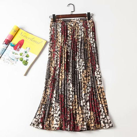 Chiffon Floral Print High Waist Pleated Maxi Sun Skirt