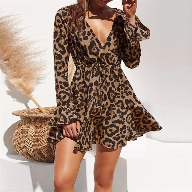 Summer Chiffon Dress Women Leopard Print Boho Beach Dress